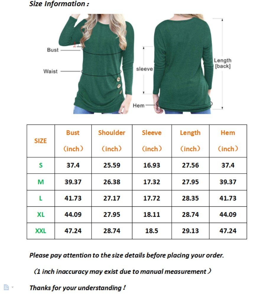 Womens Tunic Top Long Sleeve Casual Loose Lightweight Blouse Tshirt Tops ,Navy Blue,X-Large
