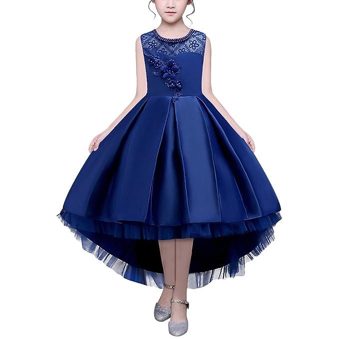 HUAANIUE Vestido de Noche de Niña Ropa de Rendimiento de Niña de Las Flores Disfraces de