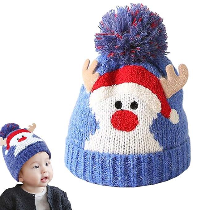 0b0d7ca711b Lesirit Kids Child Winter Hat Toddler Infant Cute Antlers Warm Knit Plush  Cap (Blue)