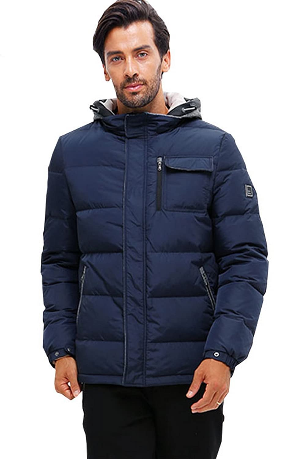 iKRR Men's Down Jacket with Hood Warm for Outdoor Winter
