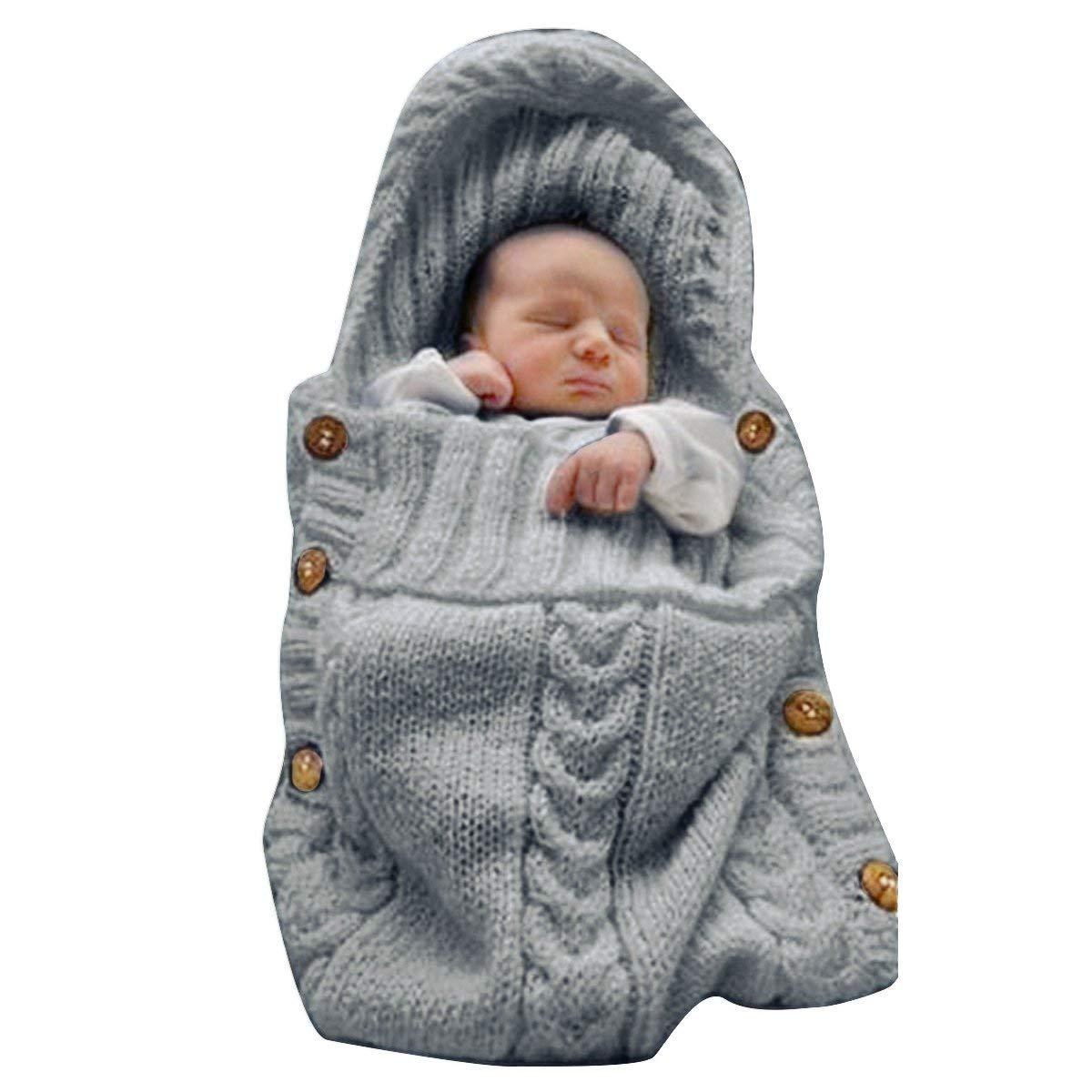 TOOGOO Manta Panales Envoltura Para Bebe Recien Nacido Bolsa De Dormir De Punto Saco De Dormir Envoltura De Cochecito Para Bebe Blanco