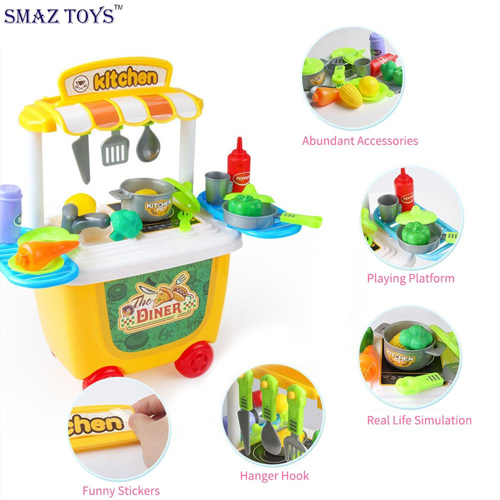 Amazon.com: SMAZ TOYS Kids Kitchen Playsets Toddler Pretend Play ...