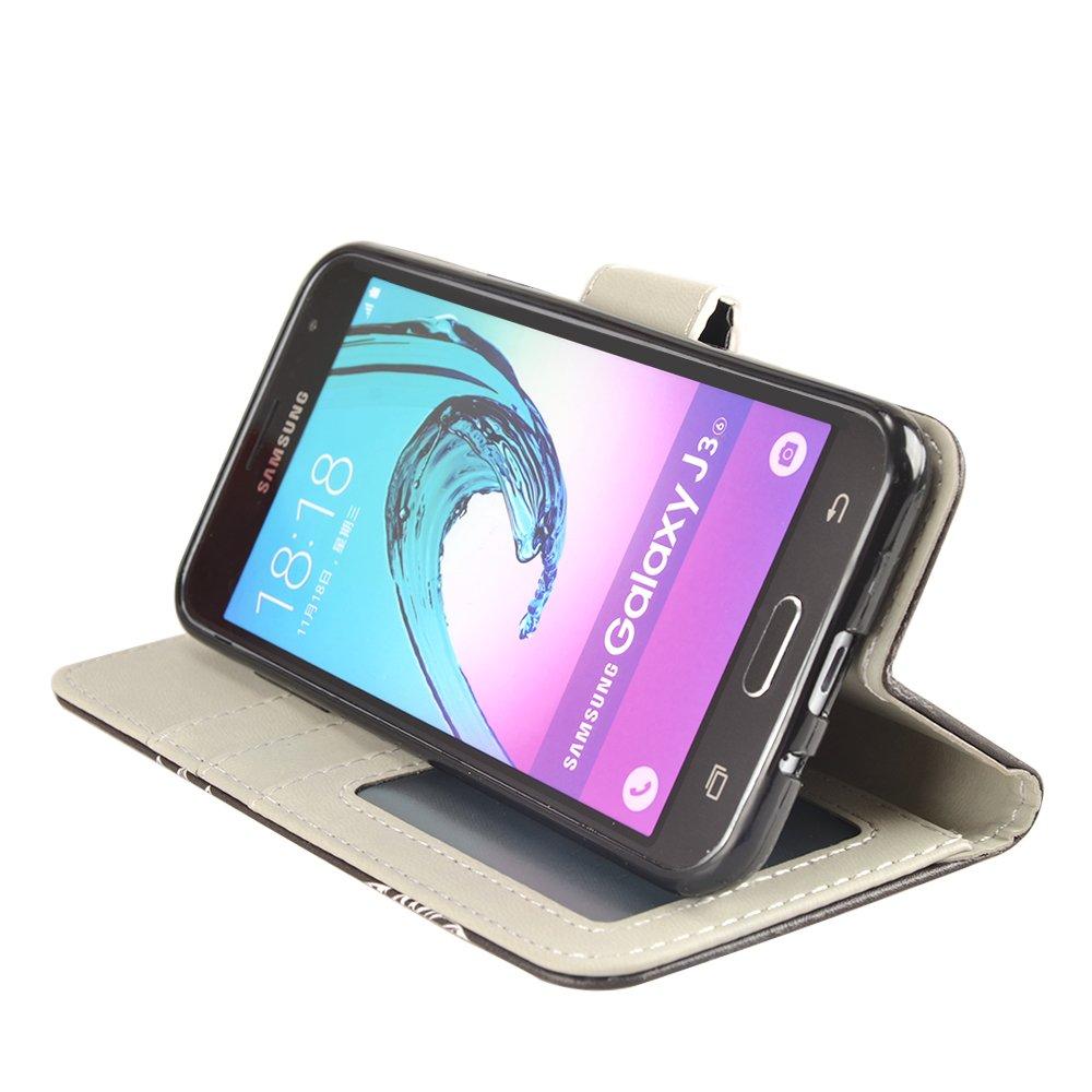J3 2016 Case, MagicSky Galaxy J3 Wallet Case Folio Flip Premium PU Leather Case Cover with Card Holder Slot Pockets, Wrist Strap, Magnetic Closure For Samsung Galaxy J3 (2016) SM-J320 5.0\