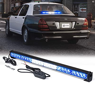"Xprite 27"" Inch 24 LED Strobe Emergency Traffic Advisor Warning Light Bar w/ 13 Flashing Patterns for Firefighter Vehicles Trucks Cars - Amber & Blue: Automotive"