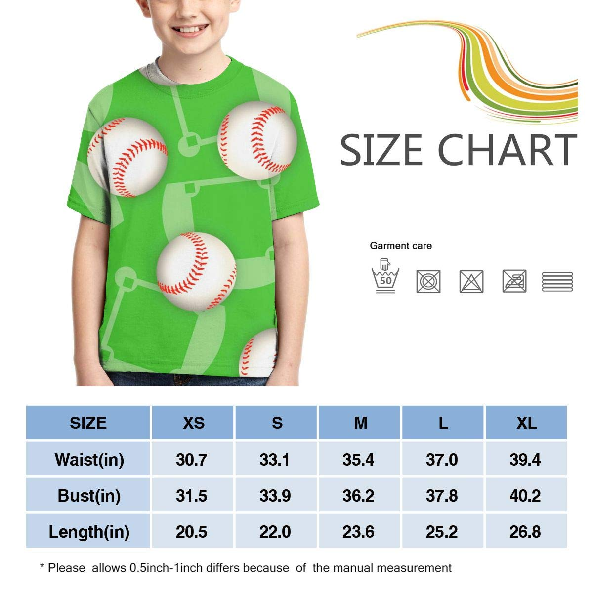 HHTZTCL Baseball Print Boys Print Graphic Tee Short Sleeve T-Shirt