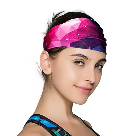 1948b37cea38 Sweat Wicking Stretchy Athletic Headband Yoga Headbands for Women - Wide  Non Slip Design for Running Workout and Fitness (Purple) at Amazon Women s  Clothing ...