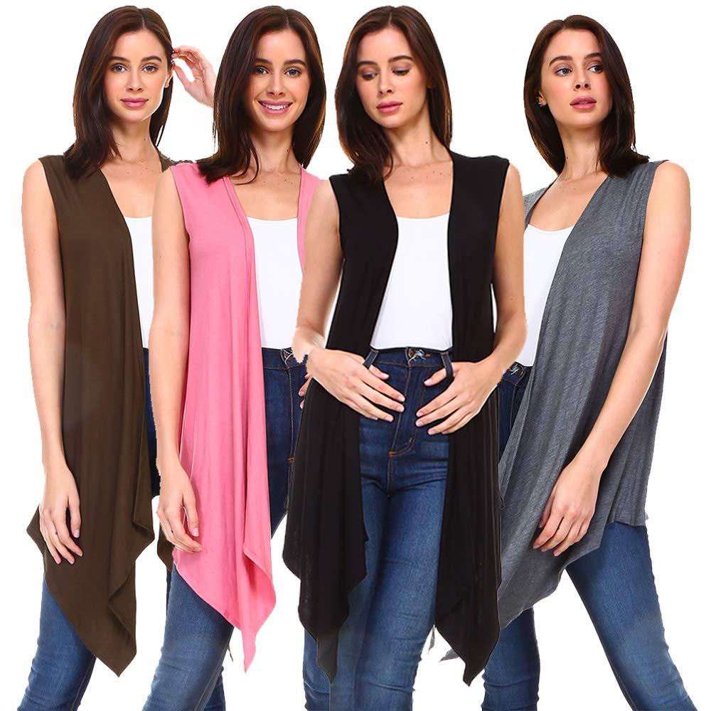 9dbb5350c109bf 4 Pack Women s Long Flyaway Cardigan Vest – Open Front Sleeveless product  image
