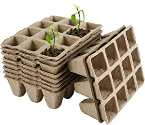 10 Pack/120 Cells Seed Starter Peat Pots Kit for Garden Seedling Tray, Eco-Friendly Organic Biodegradable Germination Seedling Trays, 12 Plastic Plant Markers Included
