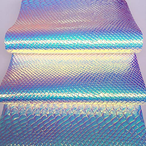 (ZAIONE Holographic Snake Skin Faux Leather Fabric Roll by The Half Yard Width 53