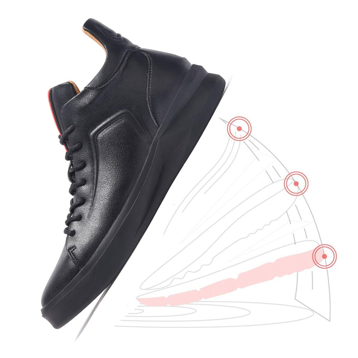 ARTISURE Men's Classic Black Genuine Leather High-Top Casual Sneakers Fashion Ankle Boots 10 M US SKS-1019HEI100 by ARTISURE (Image #3)