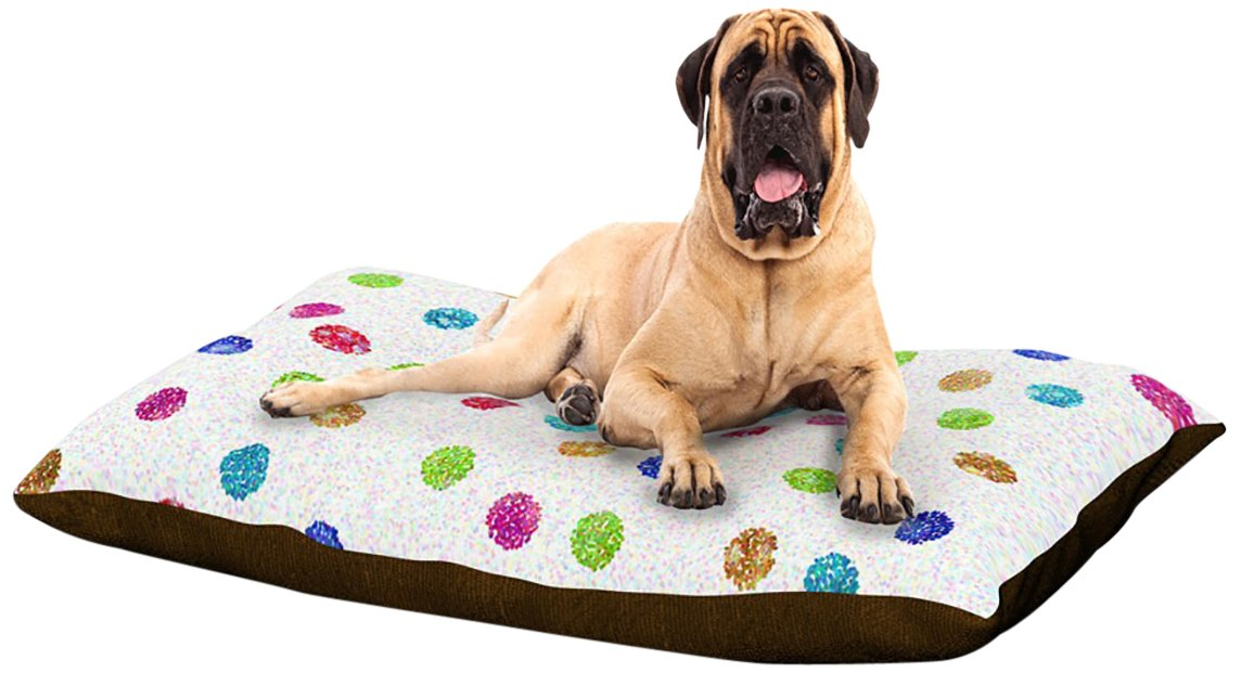 X-Large 40\ Kess InHouse Beth Engel Seeing Dots  White Rainbow Dog Bed, 50 by 60-Inch