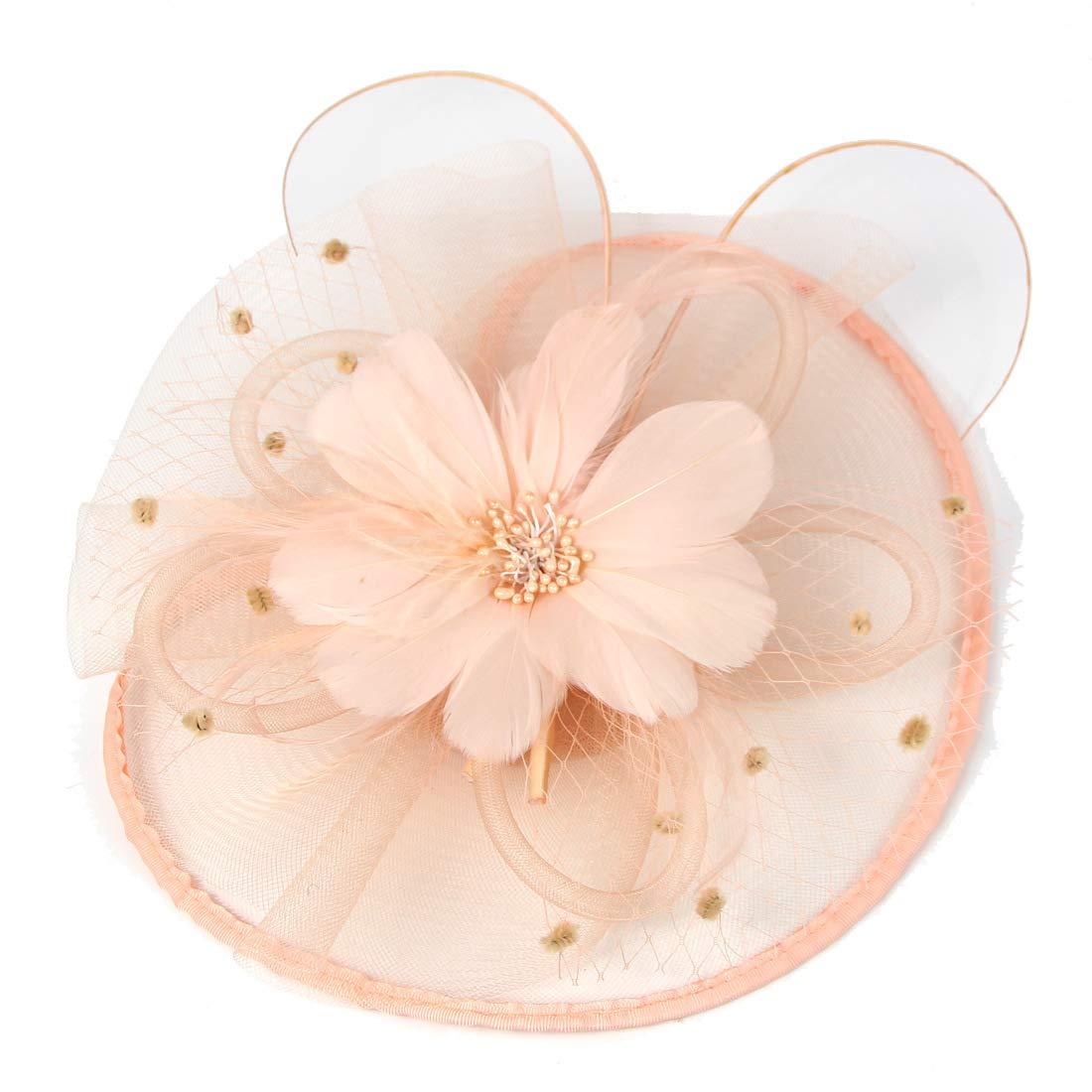 ASKEN Frauen Cocktail Fascinator Haar Pillbox Hut Feder Kopfschmuck Tea Party Hochzeit Kirche Headwear