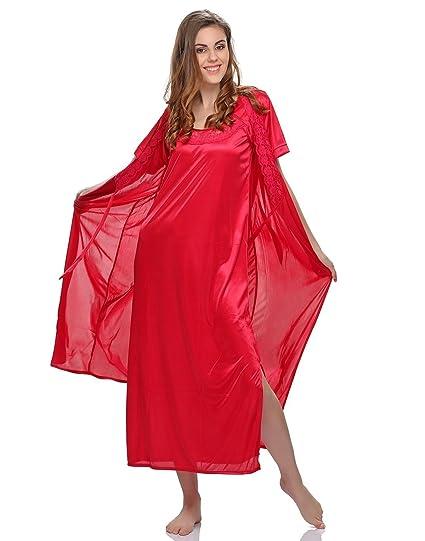 0df91ef41d Clovia Women s 4 Pcs Satin Nightwear In Pink - Robe