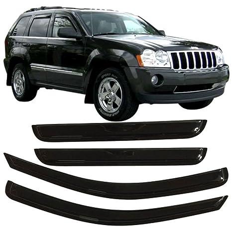 Window Visor Fits 2005 2010 Jeep Grand Cherokee | Slim Style Acrylic Smoke  Tinted U0026