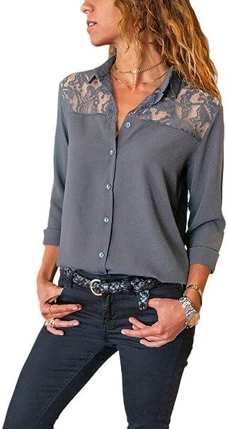 Xmiral Blusa Camicia Elegante Donna Casual Manica Lunga con Scollo V Camicetta