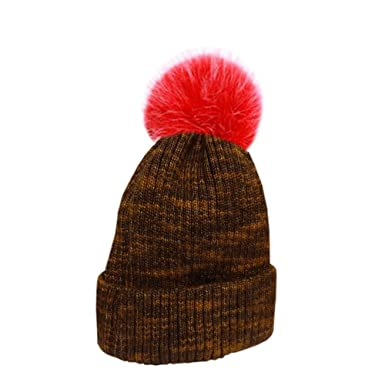 f21c035b1d6 Faux Fur PomPom Knitted Wool Winter Bobble Beanie Hat  Amazon.co.uk   Clothing