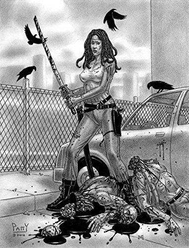 SEAN PATTY original art, WALKING DEAD, MICHONNE, brains, Zombies, 2012