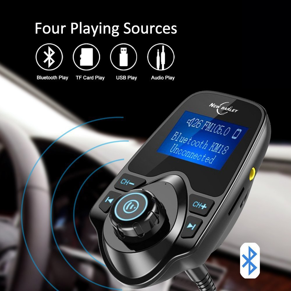 Bluetooth FM Transmitter 1.44 Inch Display Radio Adapter Car Kit With 5V 2.1A USB Car Charger MP3 Player Read Micro SD Card and USB Flash Drive NEW BARLEY FMmp3T10