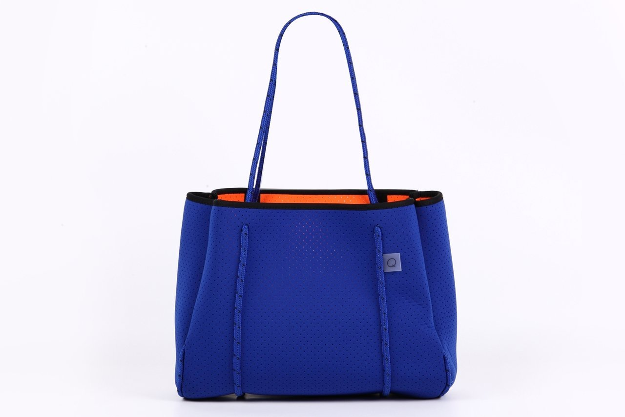 「Q」 Qbag paris トートバッグ スモールサイズ Qバッグ Sサイズ パリ発のネオプレンバッグ 軽量 大容量 マザーズバッグ としても使える キャリーオールバッグ B07879SSG4 S|ブルー ブルー S