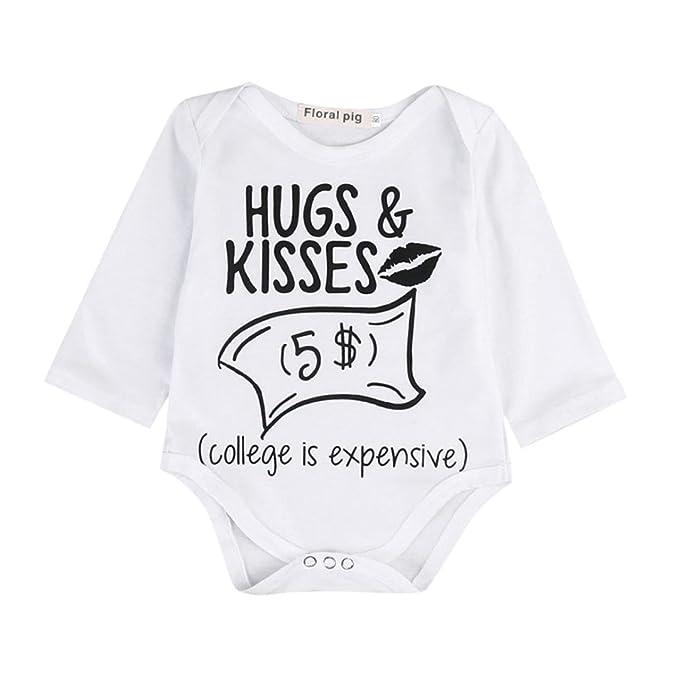 Bebé Monos, ASHOP Recién Nacido Bebé Baratas Mono Niña Hugs & Kisses Impresa Romper Manga
