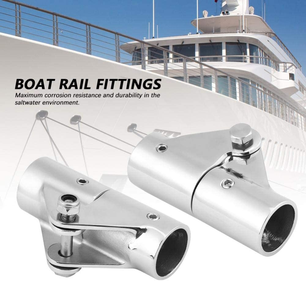 Senyar Swivel Pipe Connector,316 Stainless Steel Folding Swivel Connector Boat Rail Tube Pipe Fittings for Marine Yacht 25mm Silver