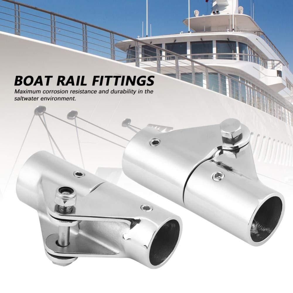 Duokon Accesorios de tuber/ía de tubo de riel de barco con conector giratorio plegable de acero inoxidable para yate marino 22mm外径