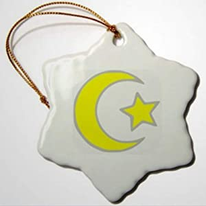 BYRON HOYLE Islamic Star and Crescent Snowflake Decorative Hanging Ornament Porcelain Christmas Ornaments Pandemic Xmas Decor Wedding Ornament Holiday Present