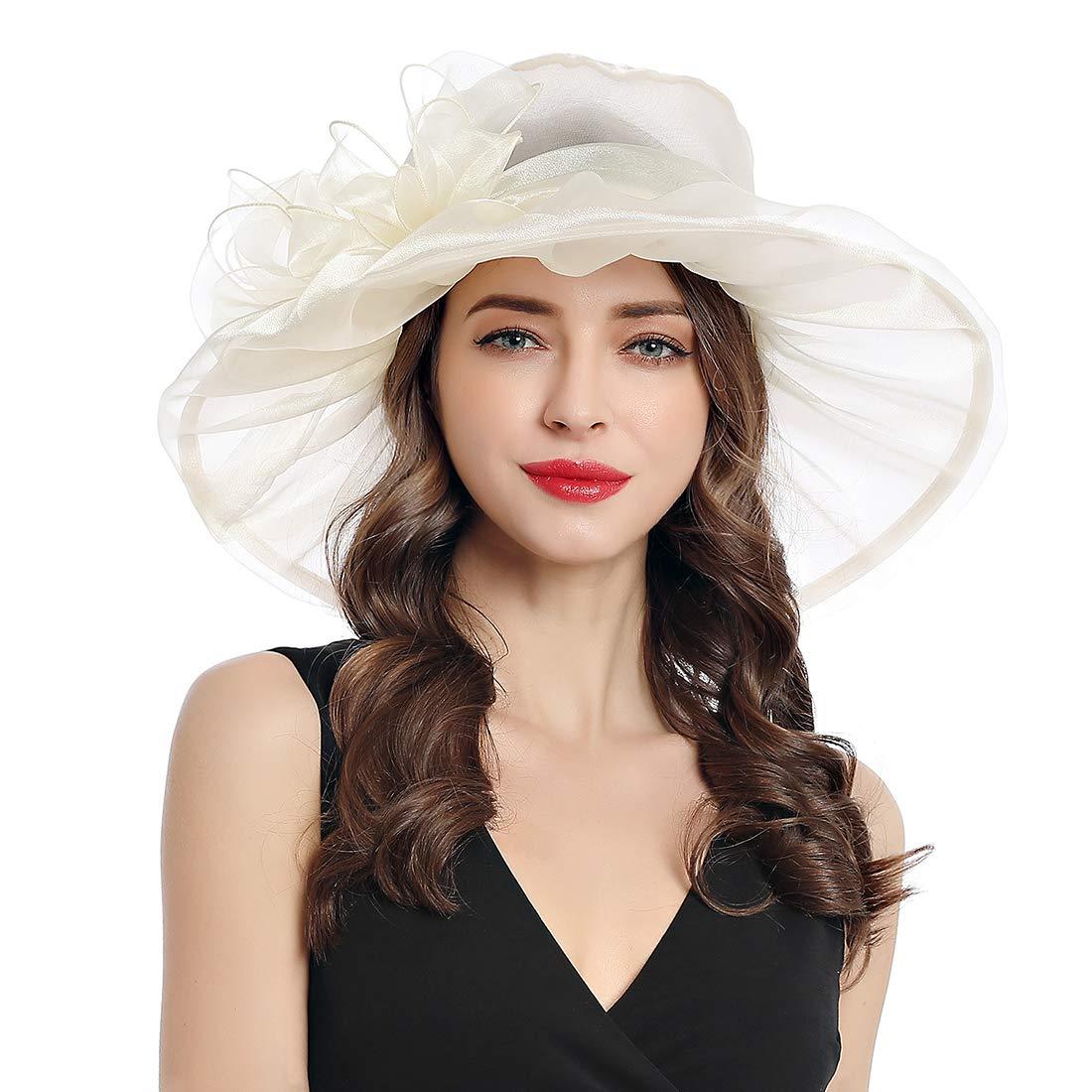 Women's Organza Church Kentucky Derby Fascinator Tea Party Wedding Hat (Beige-C) by MissCynthia