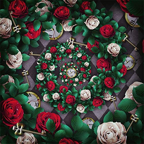AOFOTO 10x10ft Green Leaves Red Roses Backdrop for Christmas Valentine's Day Flowers Clock Metal Keys Portrait Photography Background Adults Birthday Wedding Party Decor Bride Girl Photo Studio Props (Freesia Wedding Bouquet)