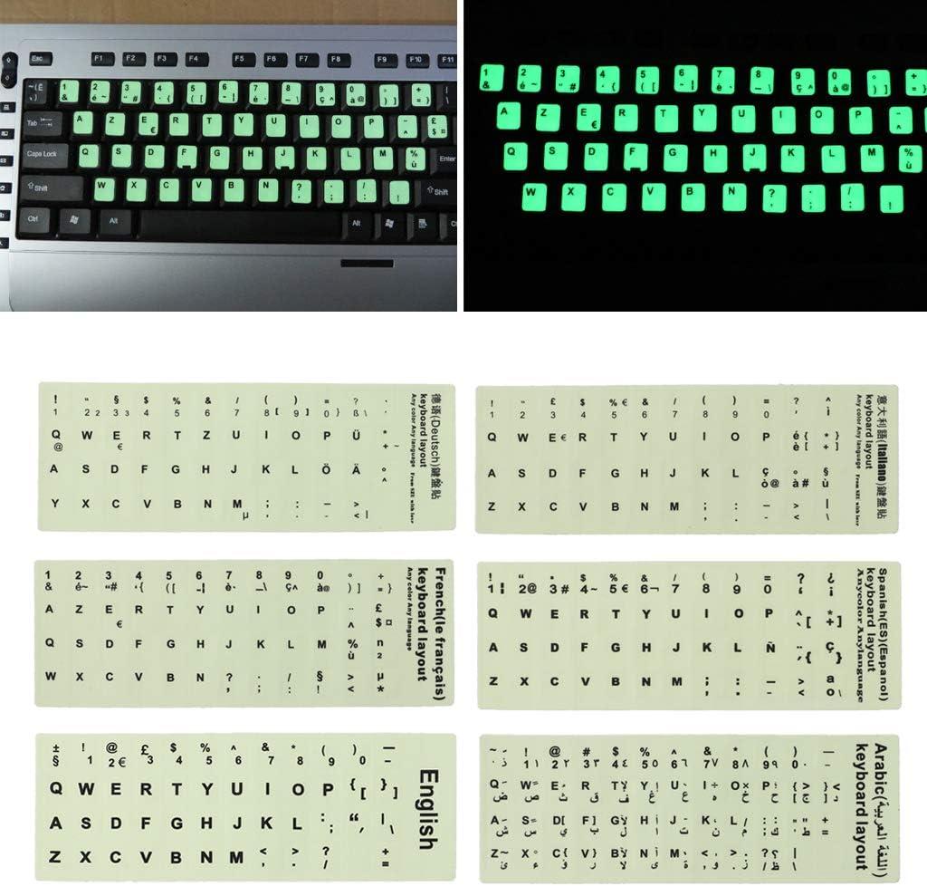 ruiruiNIE Adesivi per Tastiera Fluorescente Pellicola Protettiva per Tastiera Luminosa Impermeabile Spagnola