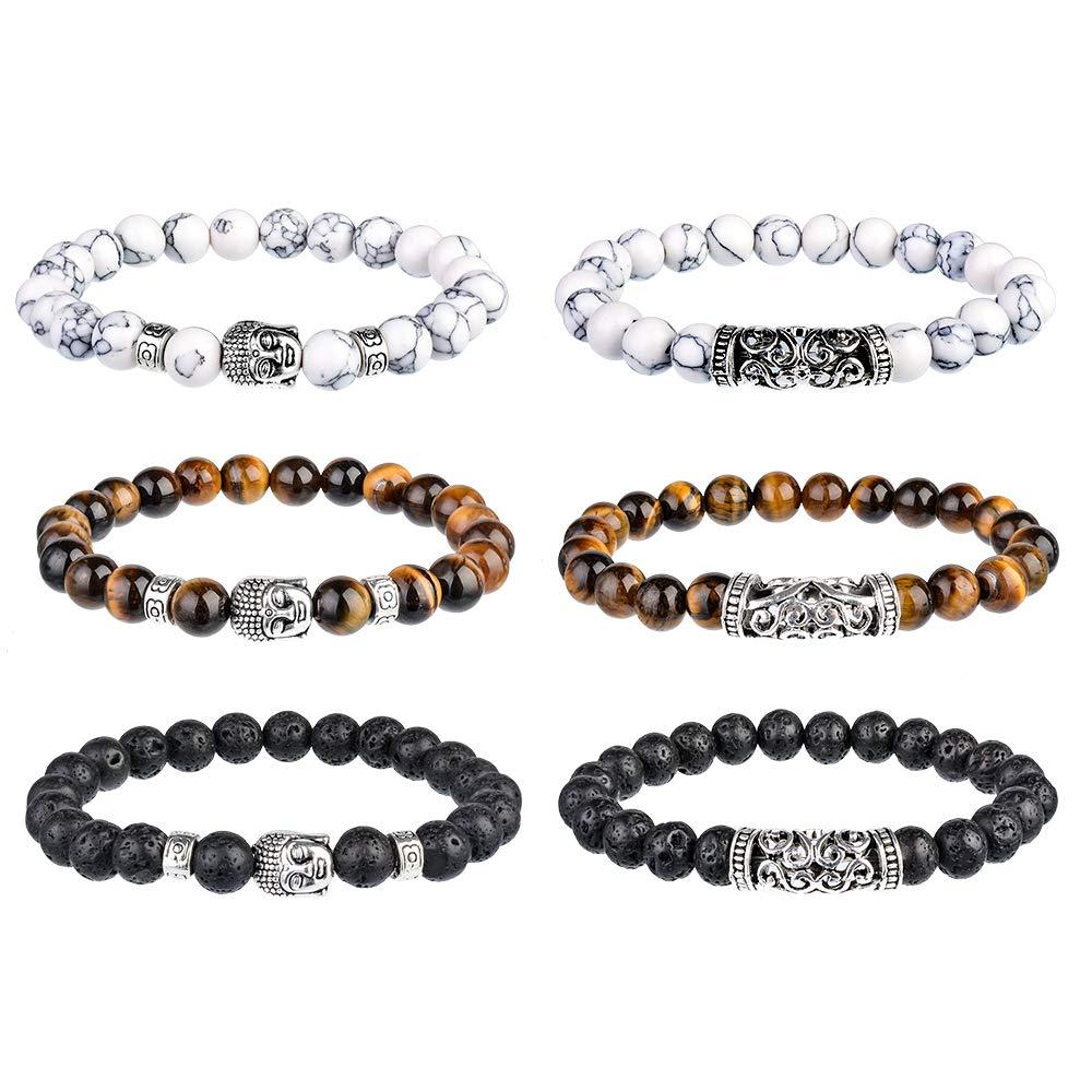 Souarts Set Unisexe Bracelet Femme Homme Yoga Accessoire Perles Pierres Cadeau No/ël Anniversaire Original
