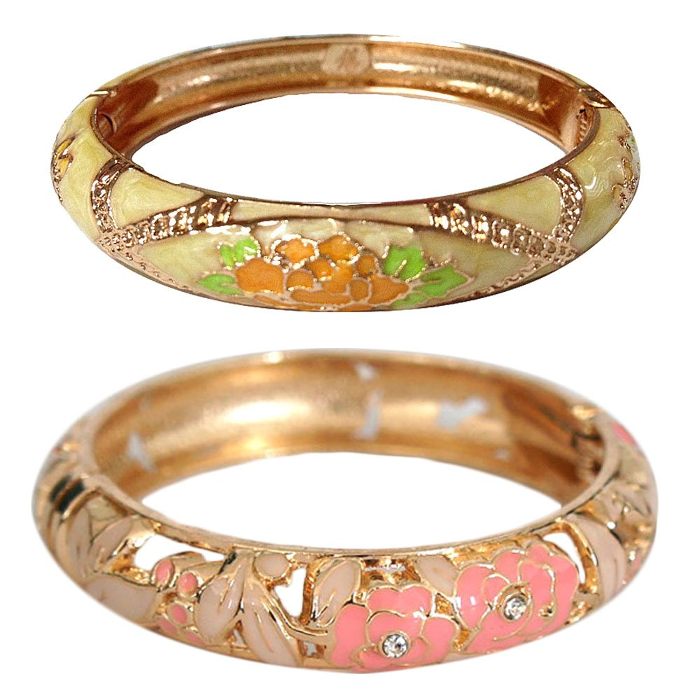 UJOY Vintage Bracelets Cloisonne Jewelry Hollowed Enamel Flower Hinge Open Bangles Gift 88A10-55A128 pink and yellow by UJOY (Image #1)