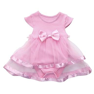 40e7a07ebeb Orangeskycn Baby Dress Girls Infant Birthday Tutu Bow Clothes Party Jumpsuit  Princess Romper Dress (Pink