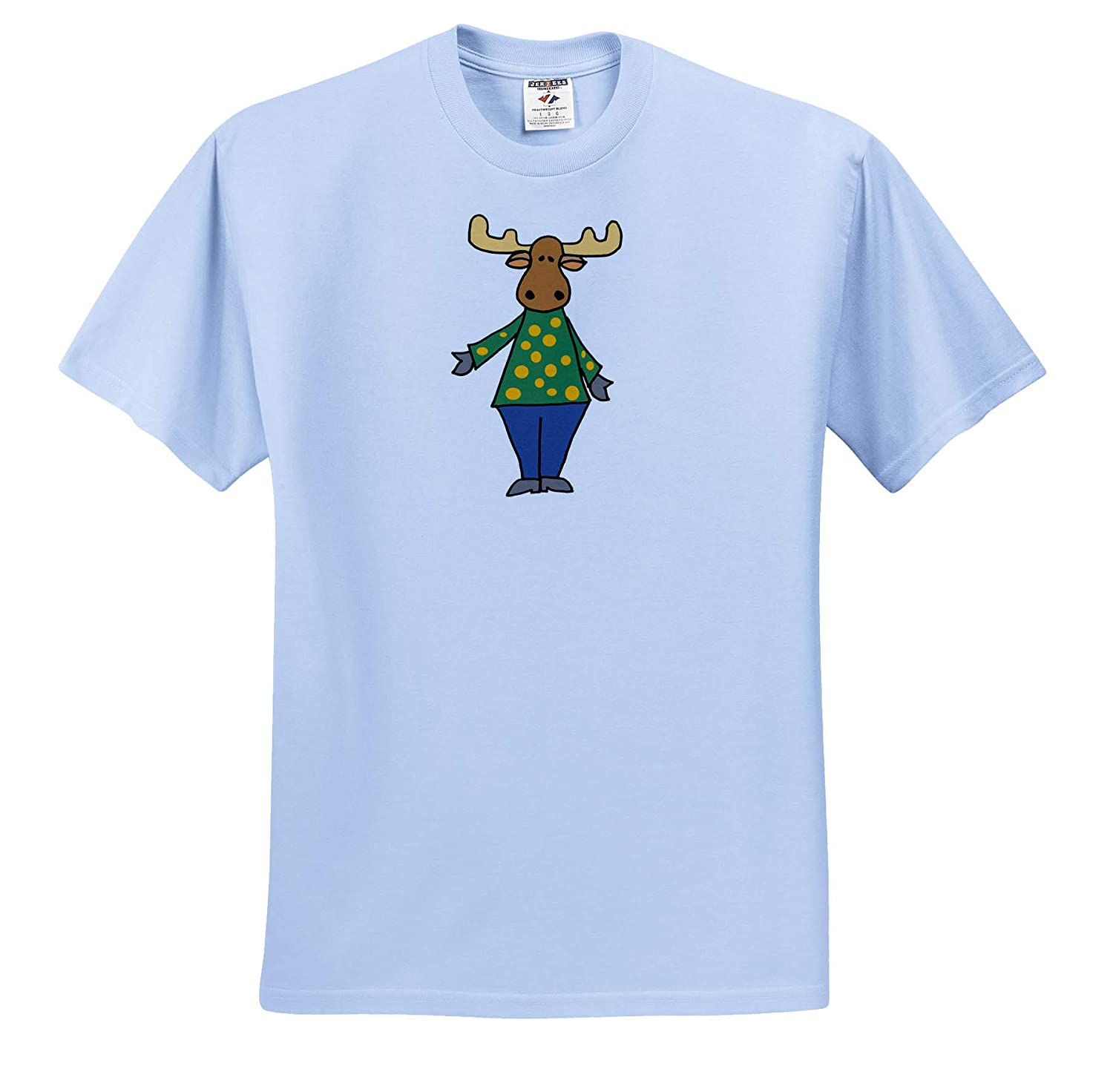T-Shirts Animals Cute Funny Moose with Polka Dotted Shirt Cartoon 3dRose All Smiles Art