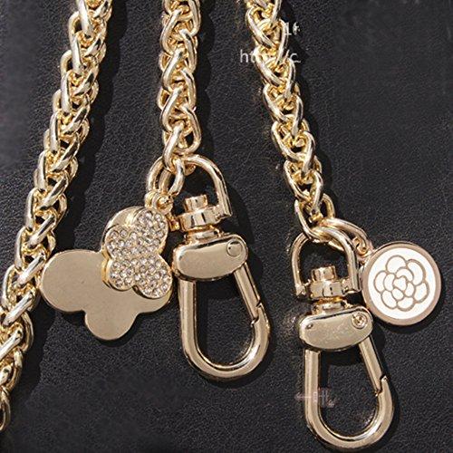 Diameter 8mm Metal Golden Chain For Replacement Purse Strap / Handle DIY ( Butterflies with Camellia Pendant ) (Length 47 (Louis Vuitton Pendant)