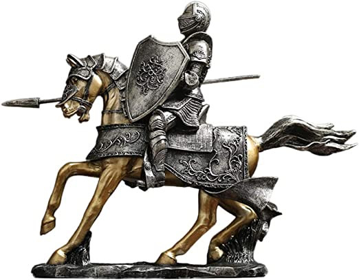 """Bronze Statue of Medieval Warrior Knight in Armor 14.5/"""" x 5/"""""""