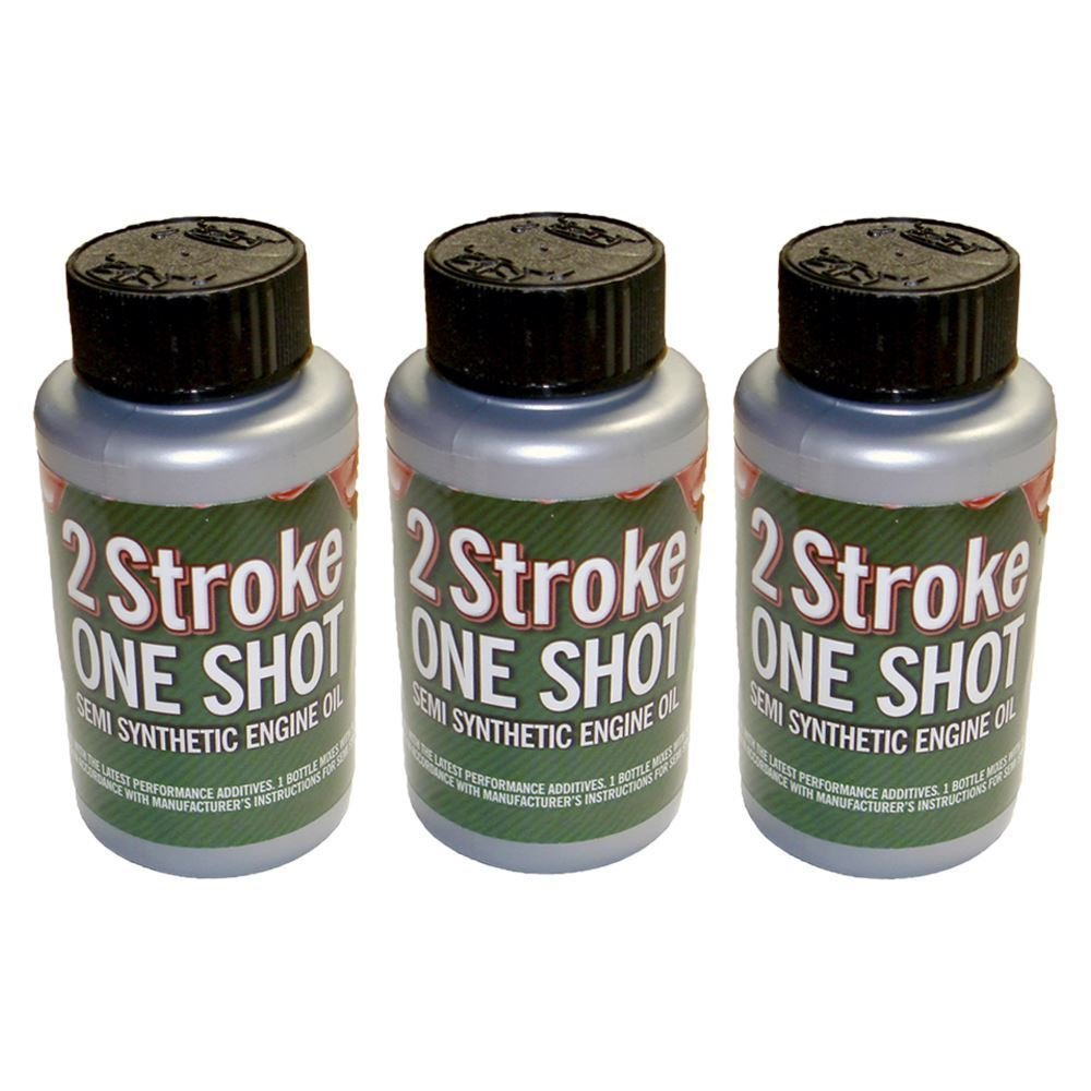3 x Two (2) Stroke Oil One Shot Bottles 50:1 Mix Ideal For Husqvarna Chainsaw Rocwood