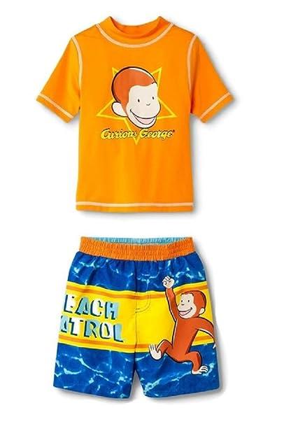 bcc7bfb89ffe6 Curious George Boys Swim Trunks and Rash Guard Set (Toddler/Little Kid/Big