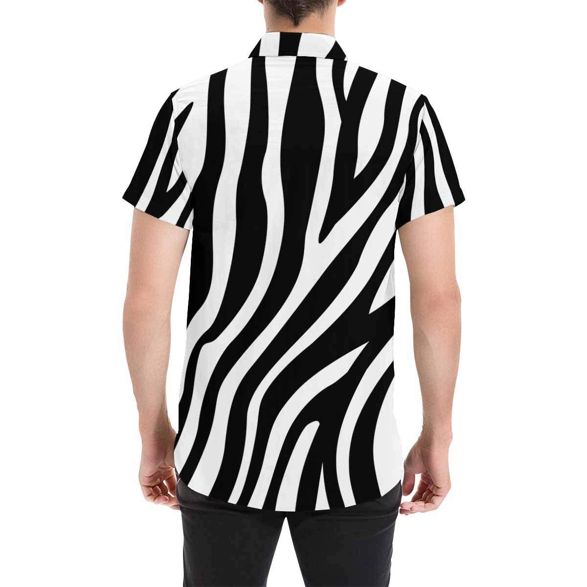 InterestPrint Summer Button Up Zebra Stripes Short Sleeve Regular Fit for Men S-5XL
