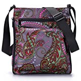 STUOYE Multi-Pocket Nylon Crossbody Purse Bag for Women Psychedelic Flowers City