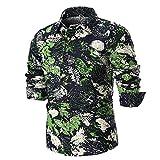 Clearance Sale!!Men's Shirt- Farjing Men's Summer Casual Slim Long Sleeve Printed Shirt Top Blouse (4XL,Green)
