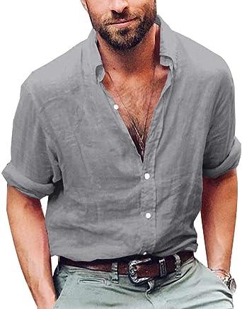 Camisa Hombre Lino Blusa Casual Transpirable Top Manga Larga Suelta Botón Camisas Sin Cuello De Color Sólido Trabajo Shirt A Gris Medium: Amazon.es: Ropa y accesorios