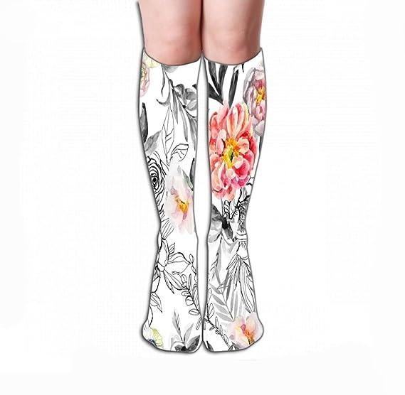 Ysdai custom Spring and winter Coloured drawing or pattern Socks Adult Print Crew Socks Knee High Socks