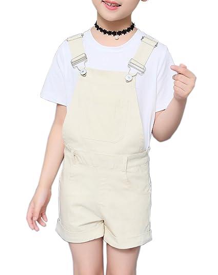 48516746675c Sitmptol Big Girls Kids Cotton Overalls Jumpsuits Casual Shortalls Bib  Romper Beige 140