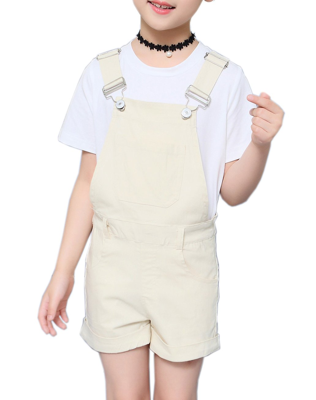 Sitmptol Big Girls Kids Cotton Overalls Jumpsuits Casual Shortalls Bib Romper Beige 150