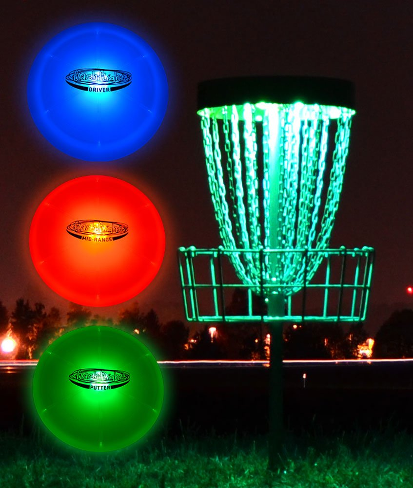 GlowCity Light-Up Disc Golf Set - 3 x LED Glow-in-The-Dark Discs - Driver Mid-Range and Putter with 2 x Remote Control Disc Puck Lights for Basket (excludes Basket) by GlowCity
