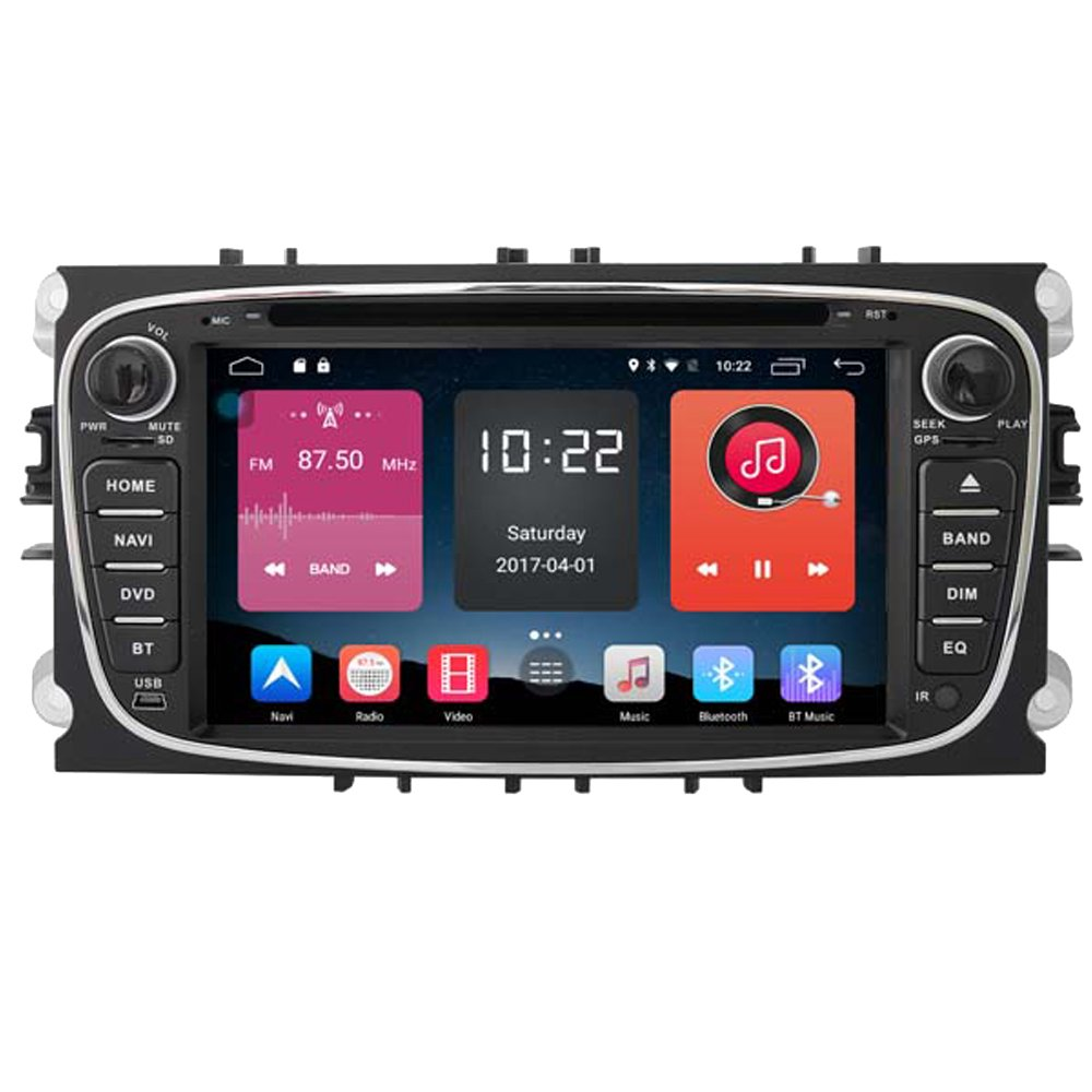 Autosion In Dash Android 6.0 Car DVD Player Sat Nav Radio Headunit GPS Navigation Stereo Black for Ford Mondeo Focus S-Max Ford Galaxy Tourneo Transit Support Bluetooth SD USB Radio OBD WIFI DVR 1080P