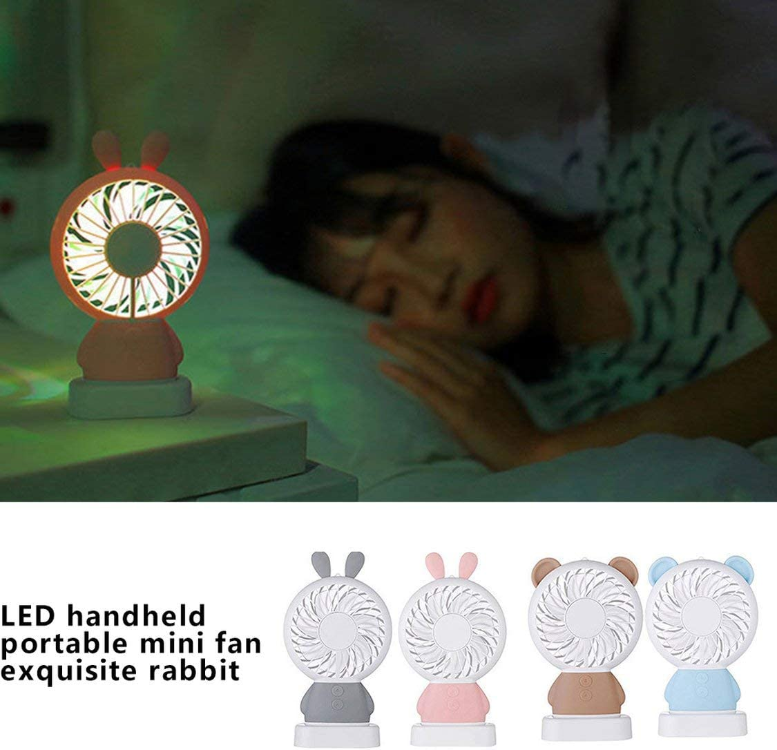 Creative-USB-Lade kleiner Ventilator Led Handportable Mini Lade Bunte Nachtlicht Studenten Fan-Gray