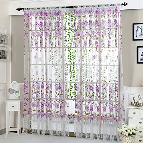 AMOFINY Home Decor Peony Sheer Curtain Tulle Window Treatment Voile Drape Valance 1 Panel Fabric from AMOFINY-Home Decoration