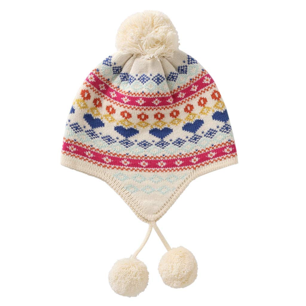 Home Prefer Kids Girls Hats Fair Isle Earflaps Hat with Pom Pom L